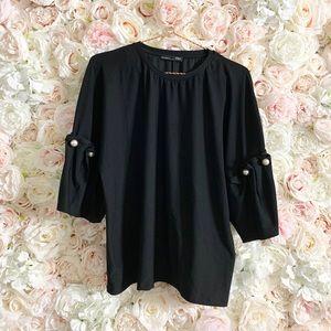 Pearl Sleeves Zara Top Size Medium